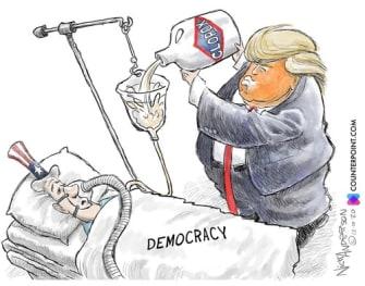 Political Cartoon U.S. Trump democracy election bleach
