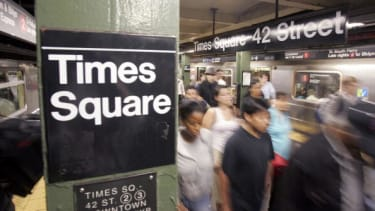 Inside the Times Square subway station.