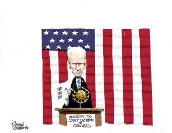Political Cartoon U.S. biden address covid