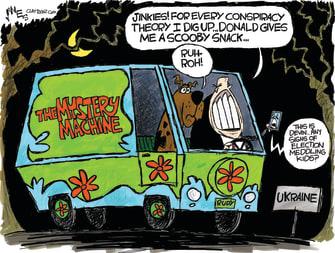 Political Cartoon U.S. Scooby Doo Giuliani Mystery Machine Conspiracy Theories Trump Ukraine