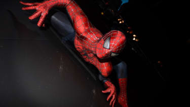 Spider-Man in the Halloween Costume exhibit at the Victoria and Albert museum.