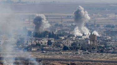 Smoke rises from Ras al Ain, Syria.