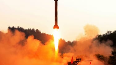 A ballistic missile is test-fired in North Korea