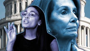 Nancy Pelosi and Alexandria Ocasio-Cortez.