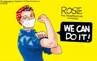 Editorial Cartoon U.S. COVID-19 Rosie the Riveter equipment shortages respirators pandemic factor workers