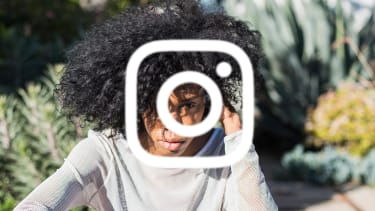 A young woman and the Instagram logo.