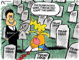 Political Cartoon U.S. Trump Florida Desantis coronavirus
