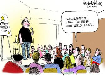 Political Cartoon U.S. Trump Comedy Night NATO