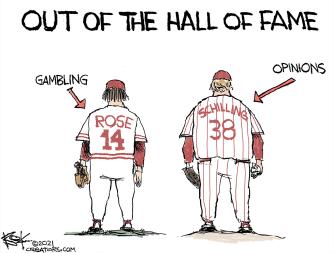 Editorial Cartoon U.S. MLB hall of fame rose schilling