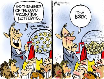 Editorial Cartoon U.S. tom brady covid vaccine
