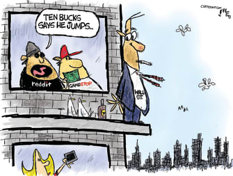 Editorial Cartoon U.S. gamestop reddit wall street