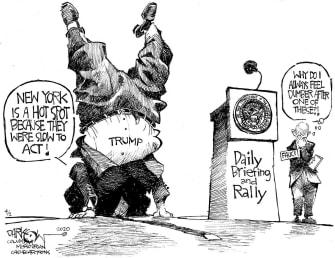 Political Cartoon U.S. Trump fools around shifts responsibility New York tweet Fauci loses brain cells
