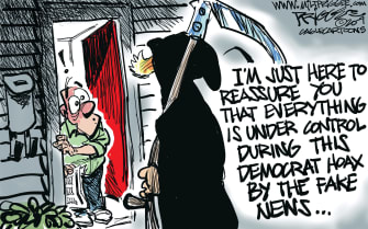 Political Cartoon U.S. Trump COVID-19 Democrats fake news misinformation reaper