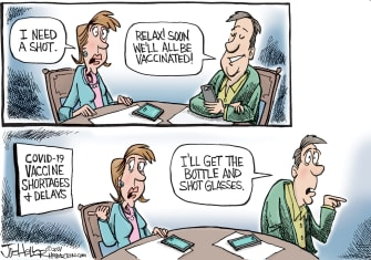 Editorial Cartoon U.S. covid vaccine