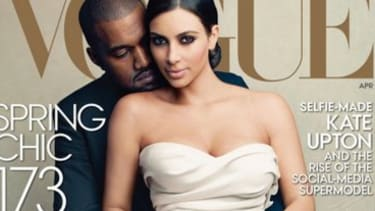There's a hashtag on Kim Kardashian and Kanye West's Vogue cover