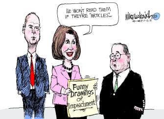 Political Cartoon U.S. Trump impeachment Articles Title Change Funny Drawings