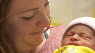 Cristina Penton with her newborn.