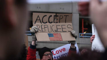 Protesters of President Trump's immigration order at JFK airport