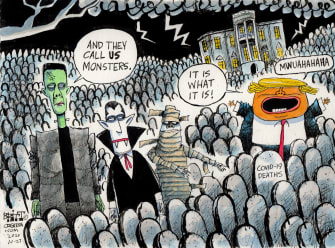 Political Cartoon U.S. Trump COVID deaths Halloween