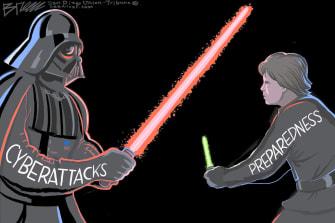 Editorial Cartoon U.S. star wars cyber attacks