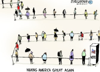 Political Cartoon U.S. 2020 vote