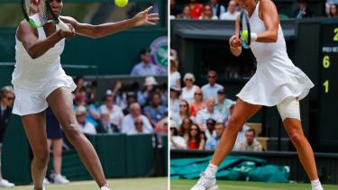 U.S. tennis player Venus Williams (L) playing a shot and Spain's Garbine Muguruza (R)