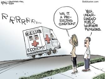 Editorial Cartoon U.S. worker pensions blue states