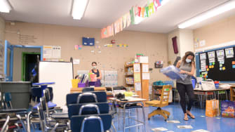 Teachers Nancy Rastetter and Marisa Wiezel, who is related to the photographer, prepare for the 2020/2021 school year in Wiezel's classroom at Yung Wing School P.S. 124 on August 25, 2020 in