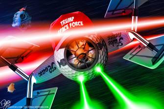 Political Cartoon U.S. Trump space force golf