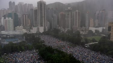Protesters in Hong Kong on August 18, 2019.
