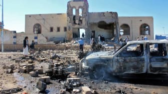 The aftermath of an airstrike in Yemen.