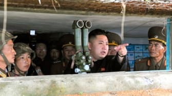 Kim Jong-Un visits a military unit on an island southwest of Pyongyang on in August 2012.