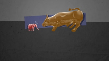 An elephant and the Wall Street bull.