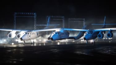Virgin Galactic unveils its new SpaceShipTwo spacecraft in 2009. The ship has just completed its first flight, and is undergoing testing before it's allowed to take tourists into space.