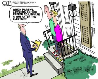 Political Cartoon U.S. Trump Biden 2020 lawyers