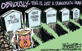 Political Cartoon U.S. Trump Democrats Coronavirus deaths hoax misinformation infections