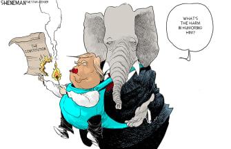 Political Cartoon U.S. GOP Trump loss