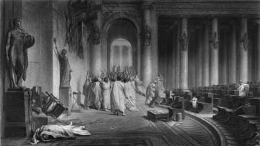 An illustration of Caesar's assassination