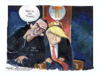 Political Cartoon U.S. Tom Cotton Trump NYT op ed troops