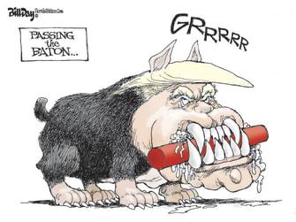 Political Cartoon U.S. Trump Biden pass baton