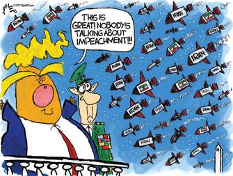 Political Cartoon U.S. Trump Iran Impeachment Diversion