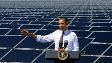 President Obama gives a speech last year at the largest photovoltaic solar plant in the U.S.