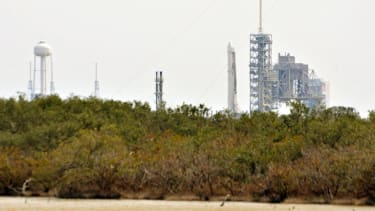 A SpaceX rocket prepares for takeoff