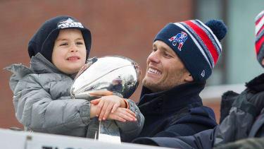 Tom Brady celebrates the New England Patriots' Super Bowl win.