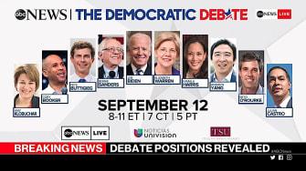 The Sept. 12 Democratic debate lineup