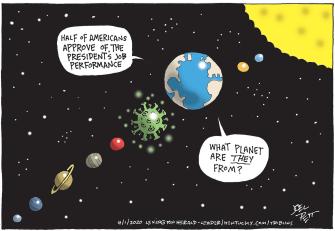 Political Cartoon U.S. Trump Americans Coronavirus approval rating confusing planet