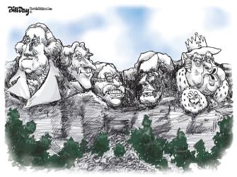 Political Cartoon U.S. Mount Rushmore King Trump