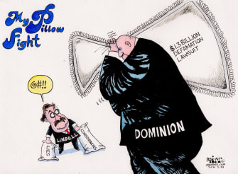 Editorial Cartoon U.S. mypillow mike lindell dominion lawsuit