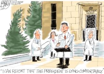Political Cartoon U.S. Trump Sean Conley COVID lying