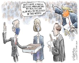 Political Cartoon U.S. Trump Biden healthcare
